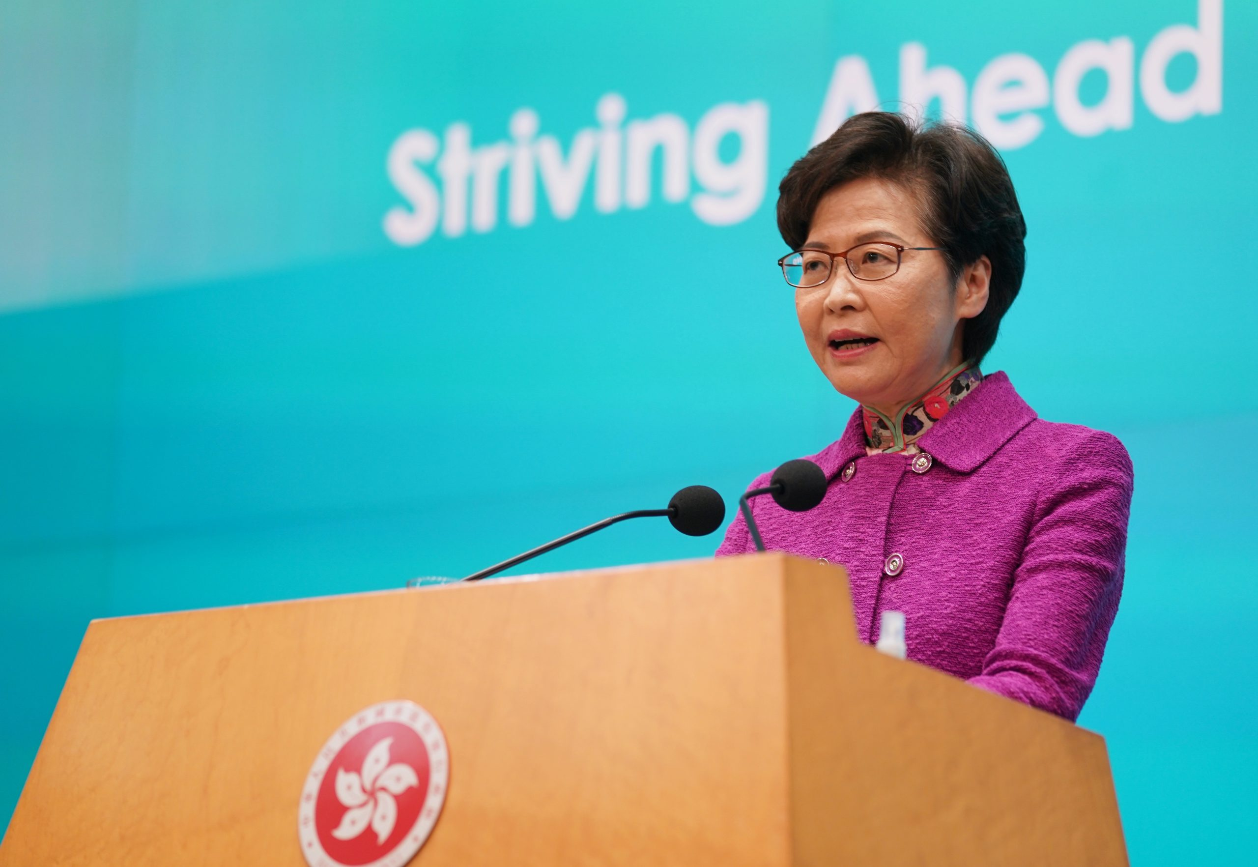 CHINA-HONG KONG-CARRIE LAM-POLICY ADDRESS-PRESS CONFERENCE (CN)