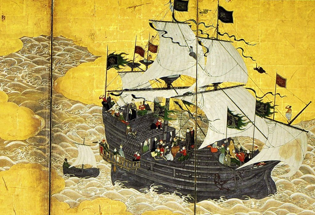 A painting of the trade ship from Macao