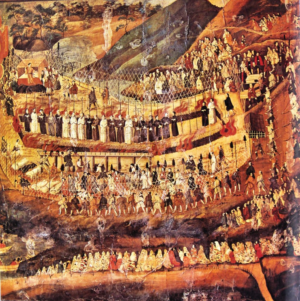 A painting showing 26 Catholics being crucified in Japan