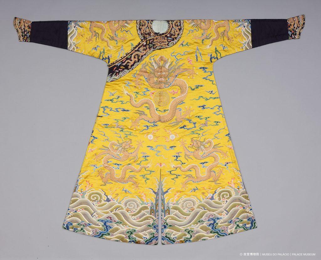 Bright yellow cotton male dragon robe