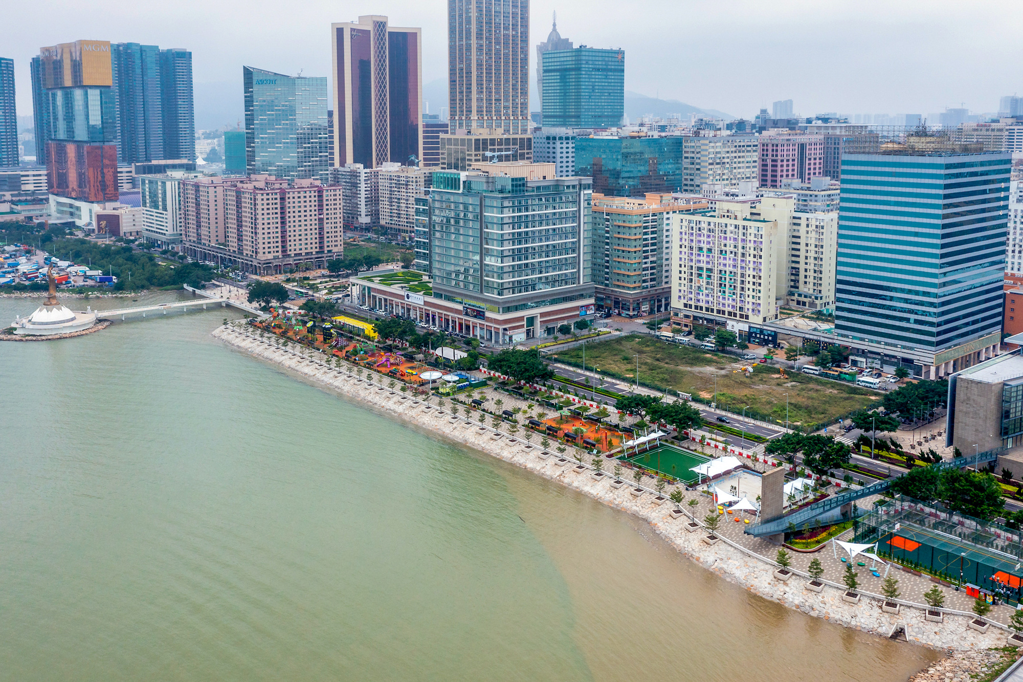 Aerial views of the waterfront park