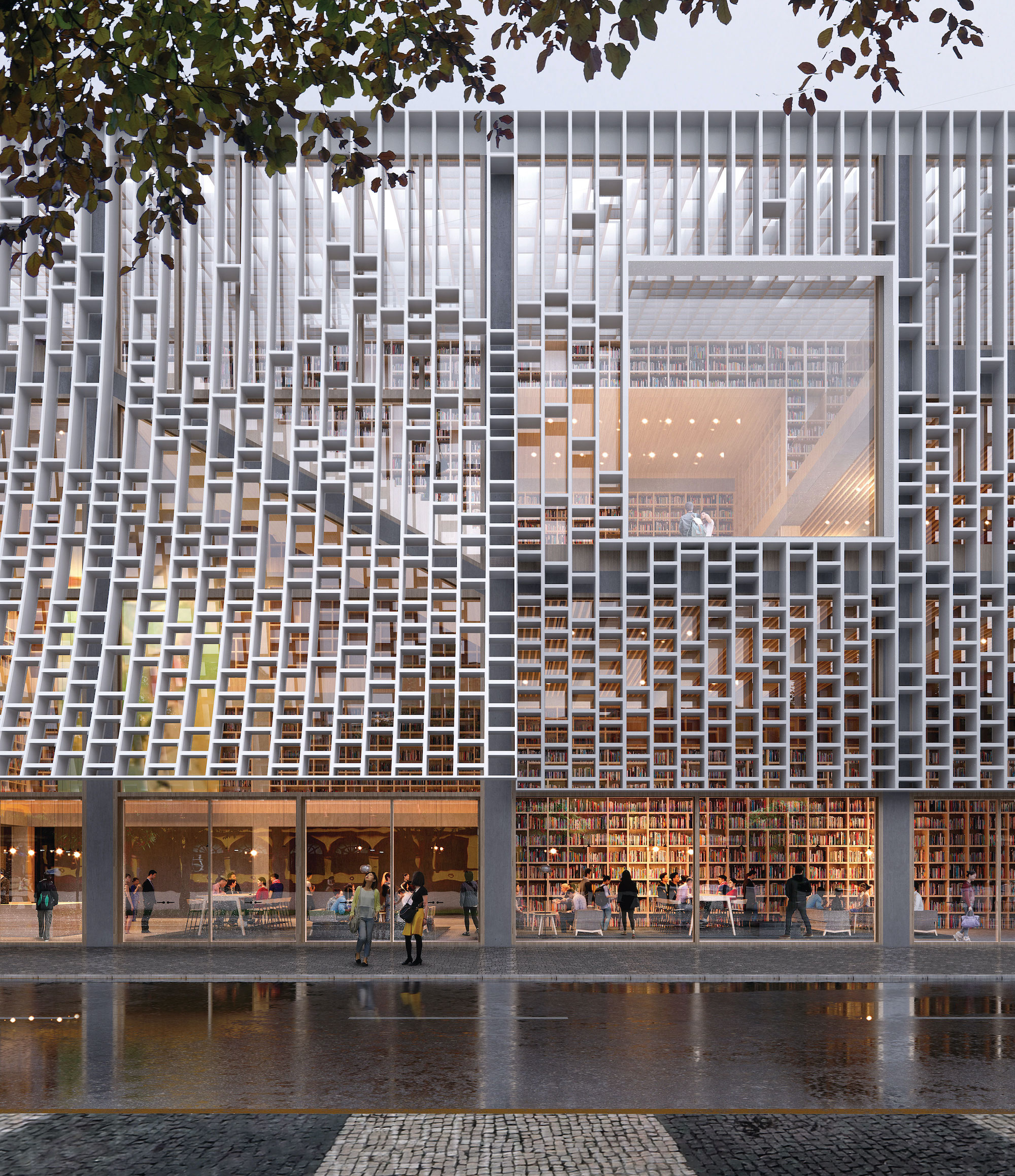 Artist rendering of a close-up of the new Central Library's façade